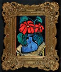 rote blumen in blauer vase auf tisch (+ sketch, verso) by christian peschke