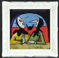 zwei diskutierende personen mit venezianischen masken, im hintergrund kanal mit gonde by christian peschke