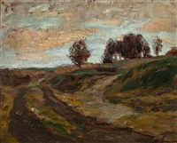 herbsttag in der lüneburger heide by fritz overbeck