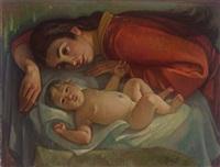 mutter mit kind (entstanden nach dem tod seiner frau - wohl als trauerbild zu lesen) by paul bürck