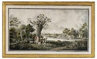 pastoralt landskap med figurer och kreatur by carl johan fahlcrantz