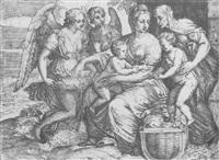 die madonna mit dem christusknaben, elisabeth und johannes an einer wiege, sowie mit zwei engeln by giovanni battista d' angeli