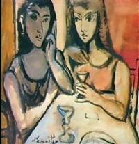 deux femmes assises by eduardo samartino