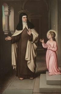 heilige karmelitin und heiliges kind im gang eines klosters by auguste hess