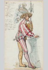 schweizer gardist aus der familie fischer von bern mit hellebarde by auguste bachelin