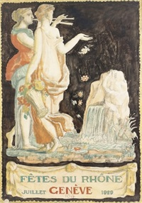 fête du rhône genève 1929 (poster design) by rodolphe dunki