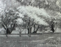 spring landscape with a grove of trees by theodore wendel