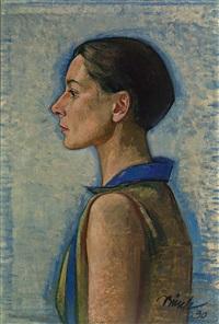 ägyptisches profil. büstenporträt eines mädchens im profil by paul bürck
