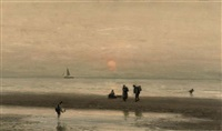 collecting shells at sunset by johannes joseph destree