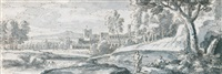 an italianate landscape with figures cavorting by a river by abraham genoels