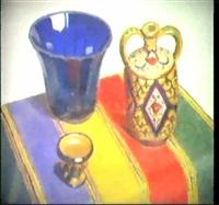 drei vasen auf einem tisch by giacomo gabbiani