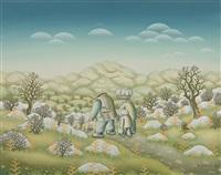 vom markt. phantastische landschaft, darin familie mit kindern und schwein by duro jancic