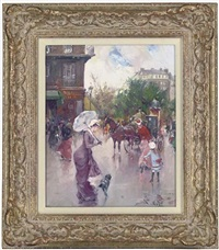 elegant figures in a bustling square (+ meeting the puppy; pair) by juan puig soler
