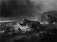 schiffbrüchiger vor stürmischer felsenküste by theodor köppen