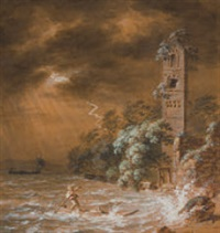 küstenlandschaft mit ruine und heimkehrendem boot bei aufziehendem gewitter by franz niklaus könig
