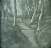 waldlandschaft mit frau auf einem birkenweg by maria philippina bilders-van bosse