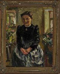 portrait einer bauersfrau in der stube vor dem fenster sitzend by karl pfluger