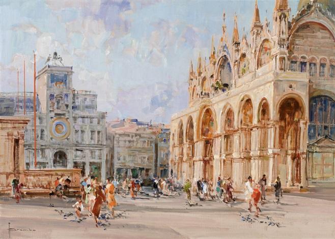 venezianische ansicht mit piazza san marco by angelo brombo