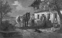 vor dem bauernhof by willy ahrweiler