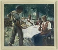 vier männer bei tisch by josef hengge