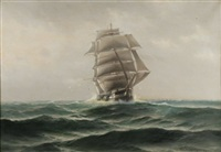 sailing ship by theodore victor carl valenkamph