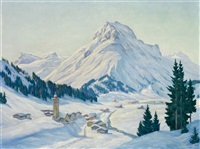 blick auf das verschneite lech am arlberg mit omeshorn by karl eyth