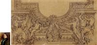 法国著名画家德拉克罗瓦 卢浮宫阿波罗廊天顶中央雕像临摹稿 by eugène delacroix