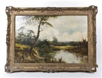 landscape with a pond by sir alfred east