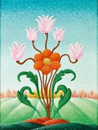 ornamentale blüten vor blühendem landschaftshintergrund by antun bahunek