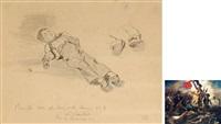 法国著名画家德拉克罗瓦 《自由引导人民》的底稿之一:1830年7月革命街垒战速写《受伤的人》 by eugène delacroix
