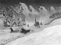winterliche gebirgslandschaft im abendlicht by a. arnegger