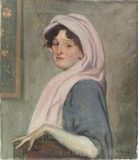 portrait einer jungen frau mit schal by arthur kampf