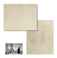 法国著名画家亨利·马蒂斯 两页铅笔草图 by henri matisse