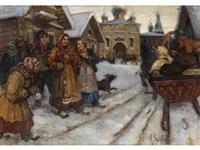 winter im russischen dorf by a. sokoloff