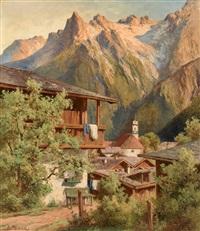 mittenwald. blick auf das kirchdorf vor malerischem gebirgsmassiv by albert leonhard reinhardt