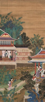 园林乐趣图 (the ladies in garden) by wang zhenpeng