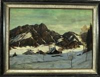 kleines dorf im tal einer winterlicher berglandschaft by august böcher
