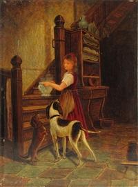 interieur. kleines mädchen mit suppenterrine wird von hunden begleitet by carl bastini