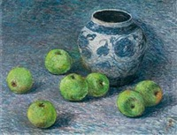 青花罐和苹果 by zhou bichu