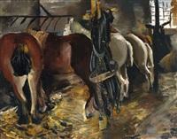 fünf pferde an der raufe im stall mit aufgehängtem zaumzeug by annot (anna ottonie) jacobi