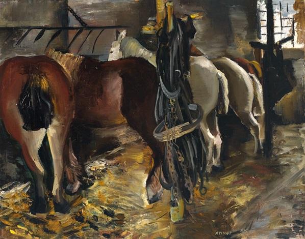 fünf pferde an der raufe im stall mit aufgehängtem zaumzeug by annot anna ottonie jacobi
