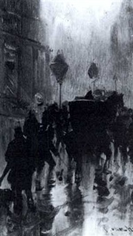 rainy paris street scene by ernest van hoorde