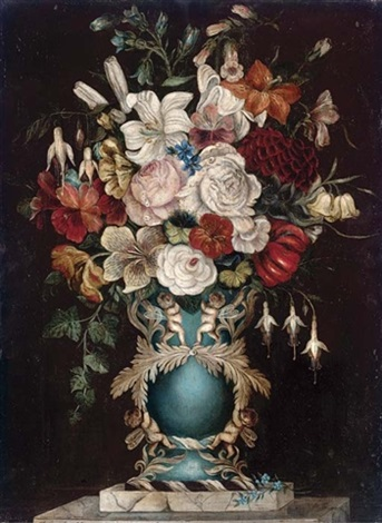 Summer Flowers In An Ornate Vase Decorated With Cherubs By Martha