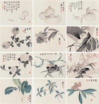 草虫花卉册 (album of 12) by bian shoumin
