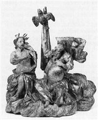 heilige dreifaltigkeit, auf einer wolkenbank thronend by josef mathias götz