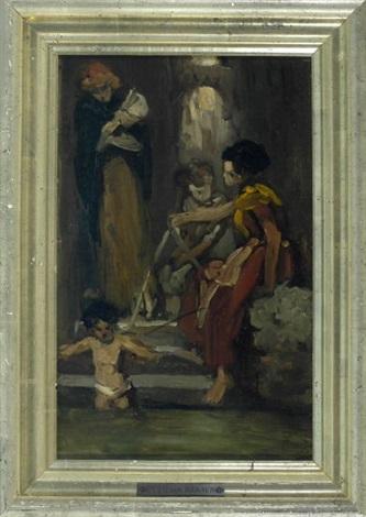 frauen mit kindern beim baden an einer treppe am fluss by cecil van haanen