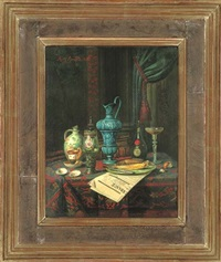 wine, jugs, cups, a glass, with fish on a plate, on a newspaper, in an interior by moritz mansfeld