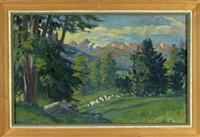tannenwald mit blick auf das alpine bergmassiv im abendrot by carl friedrich felber