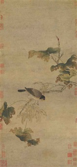autumn leaves and bird by anonymous-chinese (14)