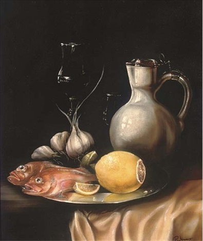 ocean perch lemon garlic a jug and two wine glasses on a silver platter by paul karslake